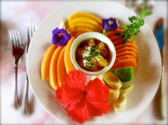 Coral Hill Bungalows: One of the delightful, freshly prepared breakfasts we enjoyed during our stay at Coral Hill Bung