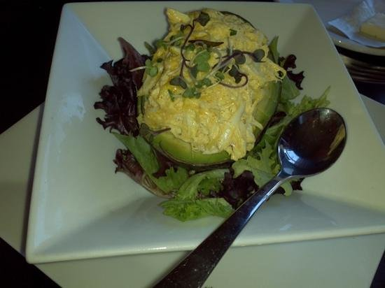 Highline Coffeehouse & Cafe: 1/2 Avacado stuffed with curry crab salad