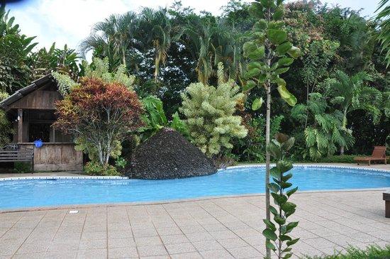 Hotel Arenal Montechiari: La piscine entourée d'une magnifique végétation.