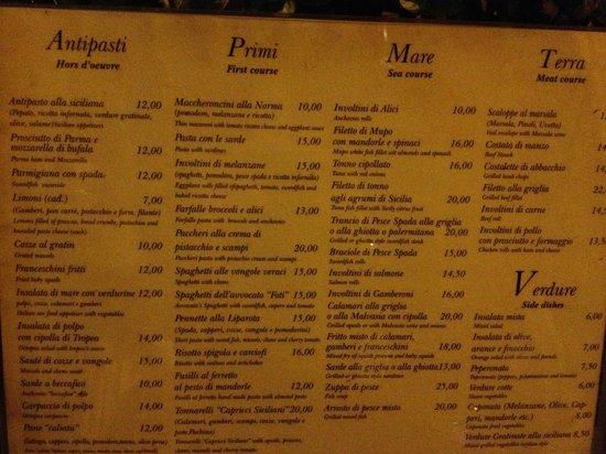 Capricci Siciliani : menu2