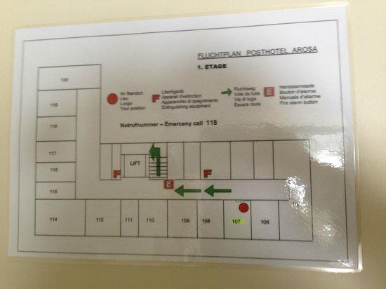 Posthotel Holiday Villa Arosa: Fluchtplan mit den Zimmergrössen