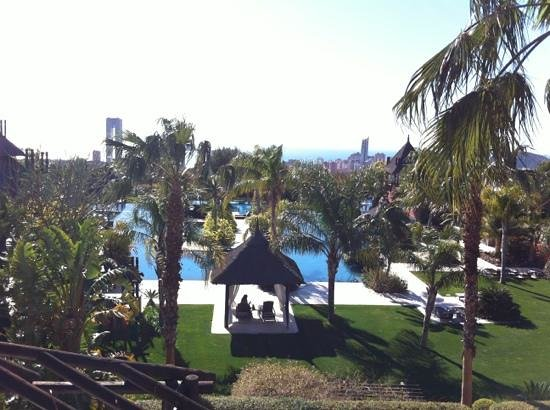 Asia Gardens Hotel & Thai Spa, a Royal Hideaway Hotel: piscinas y benidorm al fondo