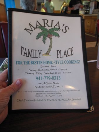 Maria's Family Place: MENU COVER