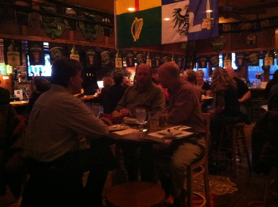 Shea O'Brien's: Deep in discussion over Guinness. Beer of the Irish earth gods!