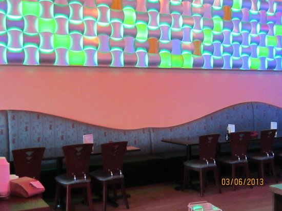 East Moon Asian Bistro: Lighting changes color throughout the restaurant...