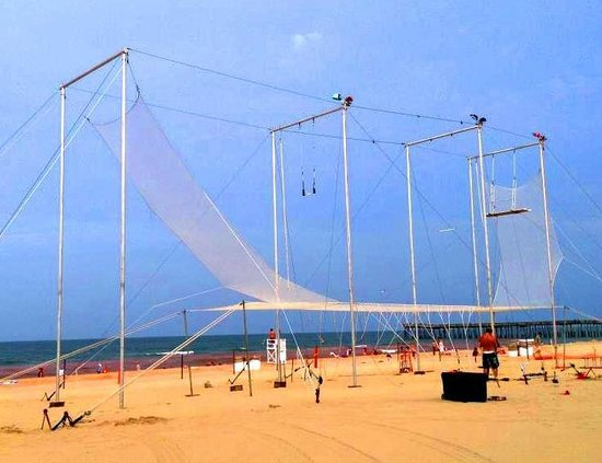 Aerial Trapeze Academy: Our Trapeze on the beach in Virginia Beach