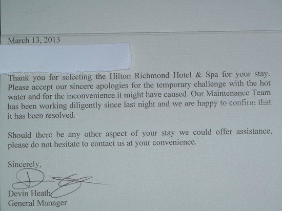 Hilton Richmond Hotel & Spa / Short Pump: The apology, if you can read it.