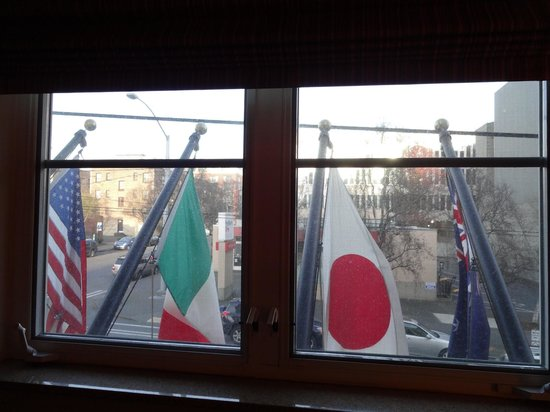 Mediterranean Inn: This was my original room, but the flags made noise, and I'm too light of a sleeper.