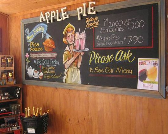 Flaxton Barn: Blackboard specials, Homemade Apple Pie, Yum