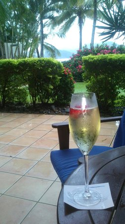 Beach Club: Champagne on the Terrace of my room....