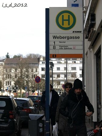 Novum Hotel Wiesbaden City: Webergasse stopping place from Central Station