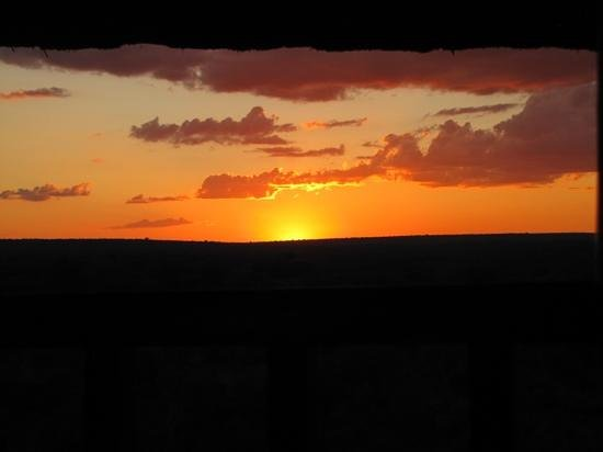 Victoria Falls Safari Lodge: sunset from the dining room