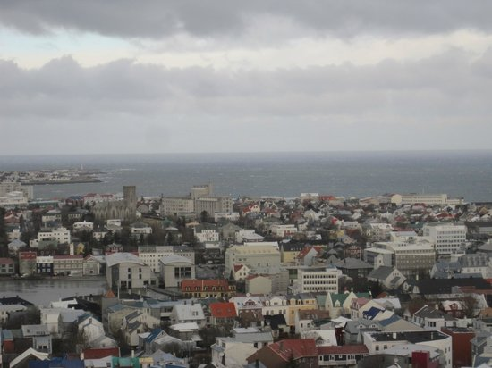 Hotel Reykjavik Centrum: view from Reykjavik cathedral tower - hotel near church in top left.
