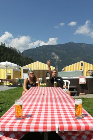 Balmers Tent Village: drinking games at the hostel