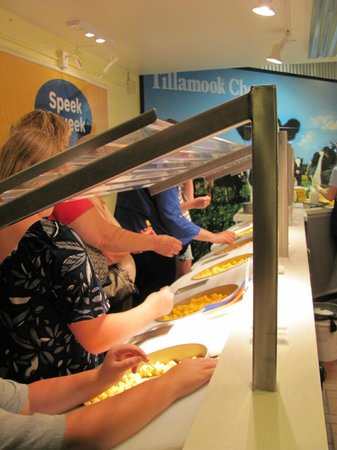 Tillamook Cheese Factory: The cheese sample line.