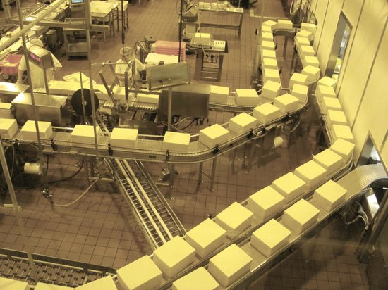 Tillamook Cheese Factory: Looking through glass observation windows, here's the factory floor,