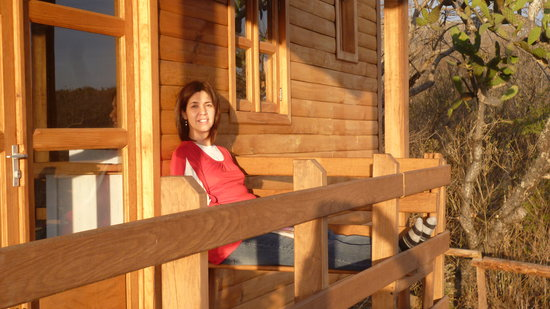 Hacienda de Taos: Katya relaxing on the deck of the cabin