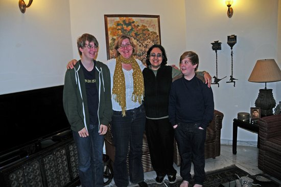 Saubhag Bed and Breakfast: Meera with Jacob, Emma and Oscar