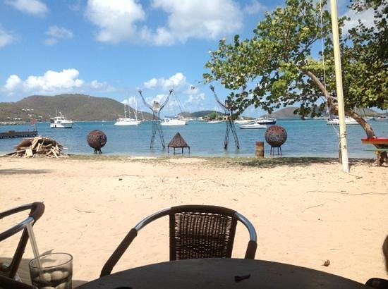 Trellis Bay Cybercafe: view from our table