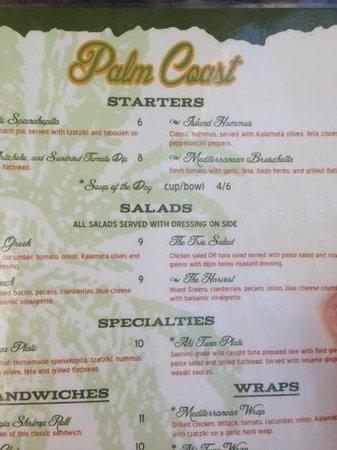 Palm Coast Coffee, Cafe and Pub: menu