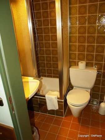 Hotel Alpina : Situation of toilet and sink in relation to the shower and shower access