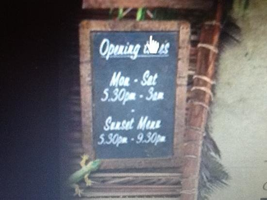 Mahiki: clear on the website when the sunset menu is used!!!!