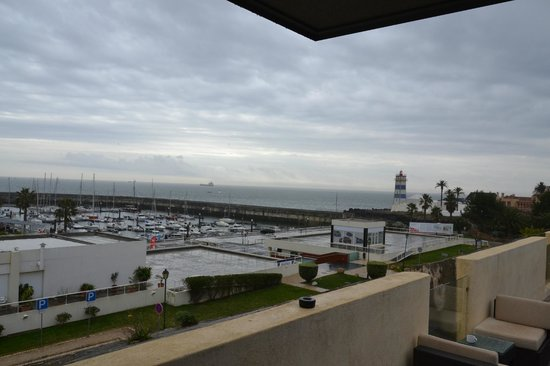 Pestana Cidadela Cascais: view from terrace - breakfast room (weather could be better)