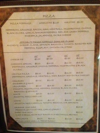 Cheech's Italian Restaurant and Pizzaria: Menu
