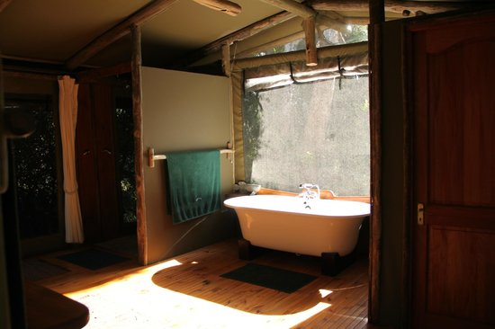 Sibuya Game Reserve: 4 -Star Luxury Tented Camps and Lodge: Bathroom with a view - River Camp