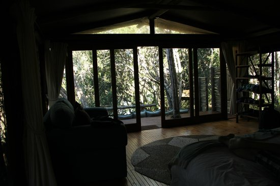 Sibuya Game Reserve: 4 -Star Luxury Tented Camps and Lodge : view from within our tent - River Camp
