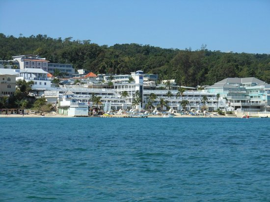Beaches Ocho Rios Resort & Golf Club: View of the resort from our glass bottom boat ride