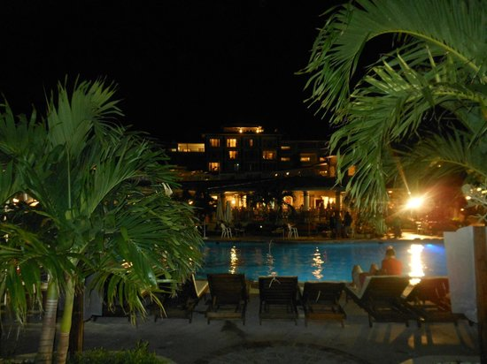 Beaches Ocho Rios Resort & Golf Club: Evening view of the resort/pool from the boardwalk at the chocolate buffet on white night