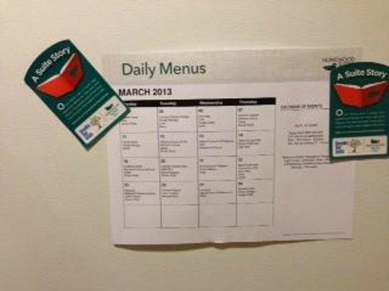 Homewood Suites by Hilton Jacksonville-South/St. Johns Ctr.: detailed event list on fridge