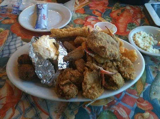 Seaman's Cove: the fried seafood platter was about a foot high. it could easily serve two
