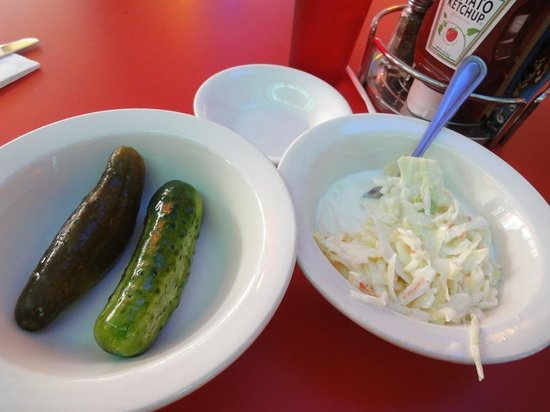 Artie's Delicatessen - coleslaw and pickles