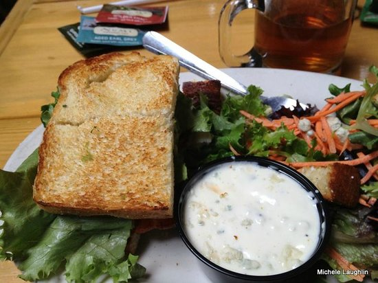 Creamery Brew Pub & Grill : half turkey, bacon and avocado sandwich on toasted sourdough with salad and blue cheese dressing