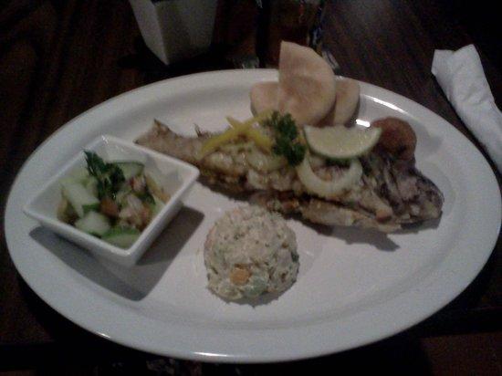 Old Harbor : Fish, plantain puree and salad