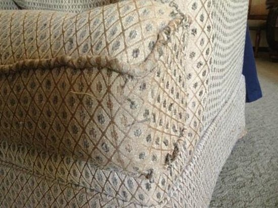 South Coast Winery Resort & Spa: Close up of worn chair with unraveling threads