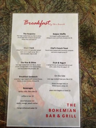 Acapulco Hotel & Resort: breakfast menu
