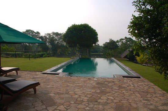 Kalu's Hideaway: Nice infinity pool in the garden with to the right the Spa