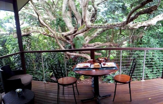 The African Cottage and Rondawel: Breakfast by the tree