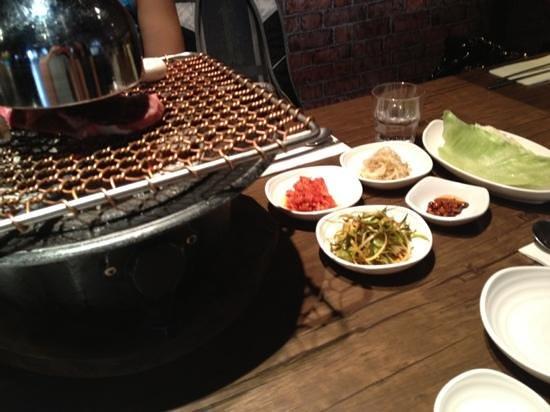 Melbourne Hwaro Korean Barbecue: condiments and grill