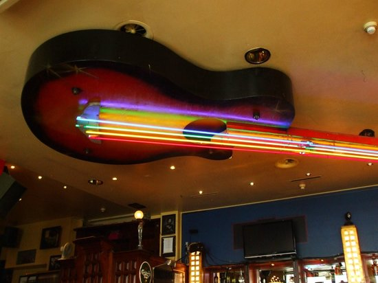 neon Guitar hanging on the ceiling - Picture of Zic Zac ...