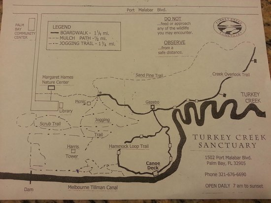 Map Of Palm Bay Florida.The Turkey Creek Sanctuary Map Picture Of Turkey Creek Sanctuary