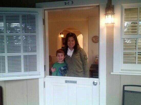 Carmel Fireplace Inn: my wife and son.... love the French door!