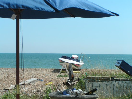 Pevensey Bay Beach: View toward the sea