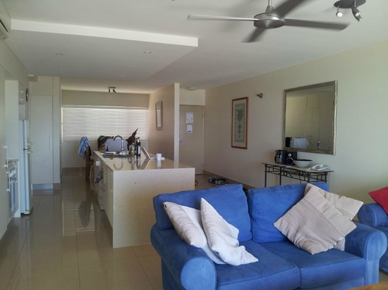 La Mer Beachfront Apartments: view of living room and kitchen area
