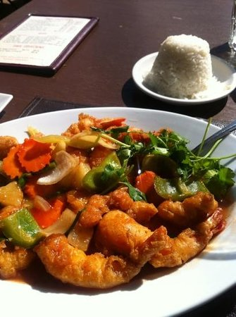 Thai Palace: sweet and sour shrimp with jasmine rice
