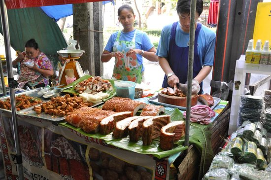 Oriental Residence Bangkok: One of the food stalls next across the street- don't miss it!