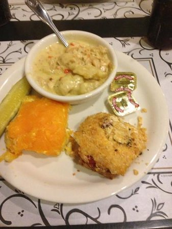 The 4th of May Cafe: chicken and dumplings with Mac n cheese and tomato pie